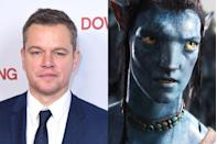 """<p>Damon passed on the lead role in <em>Avatar</em> due to a scheduling conflict with <em>The Bourne Ultimatum</em>. <em>Avatar</em> went on to become the highest-grossing film worldwide of all time, leading Damon to joke <a href=""""http://www.accessonline.com/articles/matt-damon-on-passing-on-avatar-that-cost-the-film-a-lot-82687/"""" rel=""""nofollow noopener"""" target=""""_blank"""" data-ylk=""""slk:to Access Hollywood"""" class=""""link rapid-noclick-resp"""">to Access Hollywood</a>, """"Clearly my not participating cost the film a lot."""" Damon has a history of turning down big roles: he also declined to play <a href=""""http://www.nydailynews.com/entertainment/movies/matt-damon-dreamed-playing-daredevil-article-1.2372880"""" rel=""""nofollow noopener"""" target=""""_blank"""" data-ylk=""""slk:the titular superhero"""" class=""""link rapid-noclick-resp"""">the titular superhero</a> in<em> Daredevil </em>and <a href=""""http://www.mtv.com/news/2595627/exclusive-matt-damon-was-up-for-two-face-role-in-the-dark-knight/"""" rel=""""nofollow noopener"""" target=""""_blank"""" data-ylk=""""slk:passed on playing"""" class=""""link rapid-noclick-resp"""">passed on playing</a> Harvey Dent in <em>The Dark Knight </em>because of another scheduling issue.</p>"""