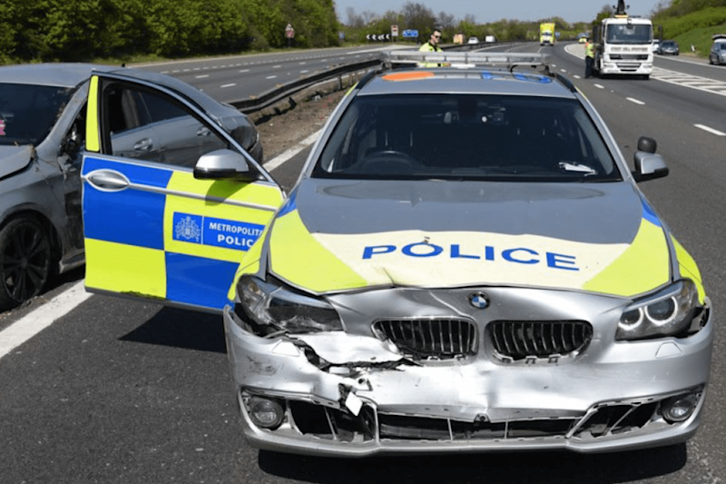 A damaged police car after the chase with Uddin (Met Police)
