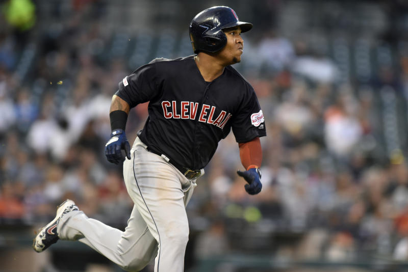 Cleveland Indians' Jose Ramirez runs after hitting a triple against the Detroit Tigers during the top of the fifth inning of a baseball game, Friday, June 14, 2019, in Detroit. (AP Photo/Jose Juarez)