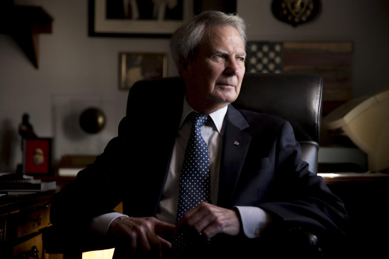 FILE - In this Wednesday, Oct. 25, 2017, file photo, U.S. Rep. Walter Jones Jr., R-N.C. poses for a portrait in his office on Capitol Hill, in Washington. Jones, a once-fervent supporter of the 2003 invasion of Iraq who later became an equally outspoken Republican critic of the war, died Sunday, Feb. 10, 2019, his 76th birthday. (AP Photo/Andrew Harnik, File)