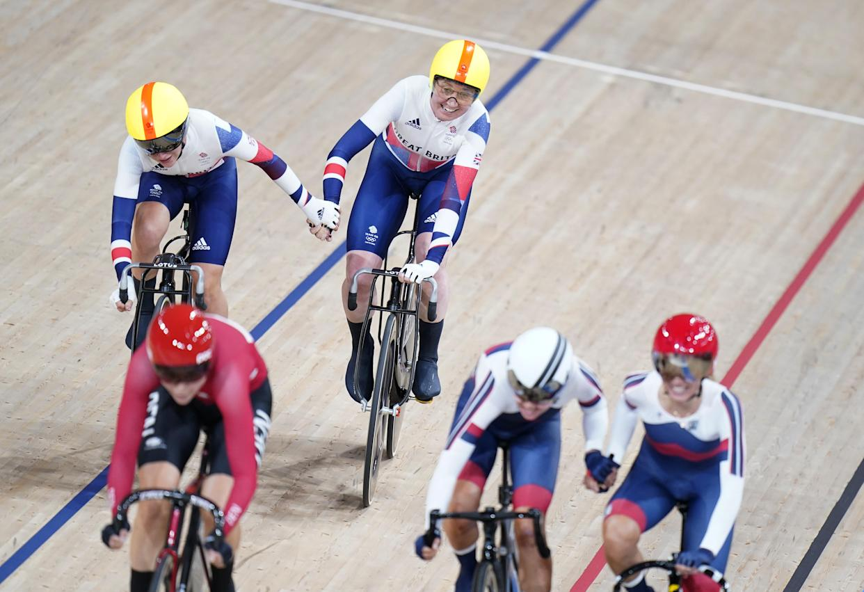 Great Britain's Katie Archibald (right) and Laura Kenny during the Women's Madison Final at the Izu Velodrome on the fourteenth day of the Tokyo 2020 Olympic Games in Japan. Picture date: Friday August 6, 2021.