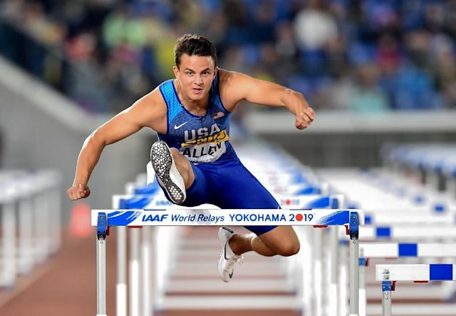 Devon Allen of the US competes during the mixed shuttle hurdles relay final at the IAAF World Relays athletics event at Nissan Stadium in Yokohama on May 11, 2019 (AFP Photo/Kazuhiro NOGI)