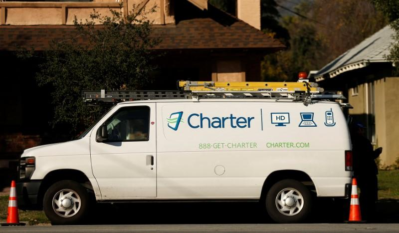 A Charter Communications company service van is pictured in Pasadena