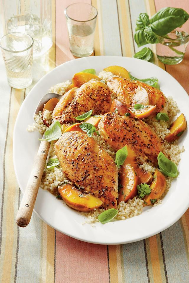 """<p><strong>Recipe:</strong> <strong><a href=""""http://www.myrecipes.com/recipe/basil-peach-chicken-breasts-50400000121677/"""" target=""""_blank"""">Basil-Peach Chicken Breasts</a></strong></p> <p> This recipe begins by browning the chicken in a skillet on the stovetop, and then cooking the shallots in the drippings while the chicken gets cooked in the oven. Starting the chicken on the stovetop and finishing in the oven helps prevent dry, overcooked chicken. The flavorful juices make a fresh and clean sauce—much lighter than a flour-thickened gravy. The chicken gets baked with the sliced peaches, giving it a savory-sweet flavor. Serve this with steamed rice, couscous, or quinoa for a simple summer meal. You'll love the juices, so save them to serve over whatever grain you choose.</p>"""