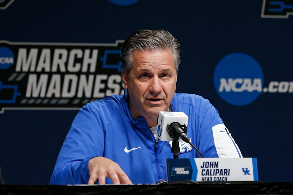 Kentucky head coach John Calipari speaks during a news conference at the NCAA men's college basketball tournament in Jacksonville, Fla., Friday, March 22, 2019. Kentucky faces Wofford in the second round on Saturday.  (AP Photo/Stephen B. Morton)