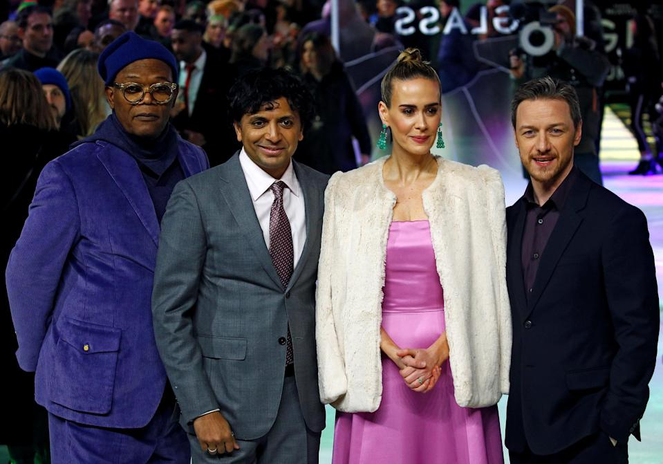 """Actors Samuel L. Jackson, Sarah Paulson, James McAvoy and director M. Night Shyamalan attend the European premiere of """"Glass"""" in London, Britain January 9, 2019. REUTERS/Henry Nicholls"""