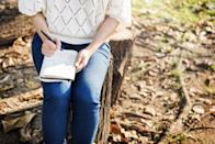 """Want to improve your mental health in minutes? Even if you don't have someone to dish your unpleasant feelings to, writing them down in a journal can help ease your mental burden. <a rel=""""nofollow noopener"""" href=""""https://www.researchgate.net/profile/Philip_Ullrich/publication/11212874_Journaling_about_stressful_events_Effects_of_cognitive_processing_and_emotional_expression/links/0fcfd5090027dd0d0a000000.pdf"""" target=""""_blank"""" data-ylk=""""slk:One study"""" class=""""link rapid-noclick-resp"""">One study</a> revealed that individuals who journaled about a stressful event were more likely to see the positives in the situation than those who don't write about it."""