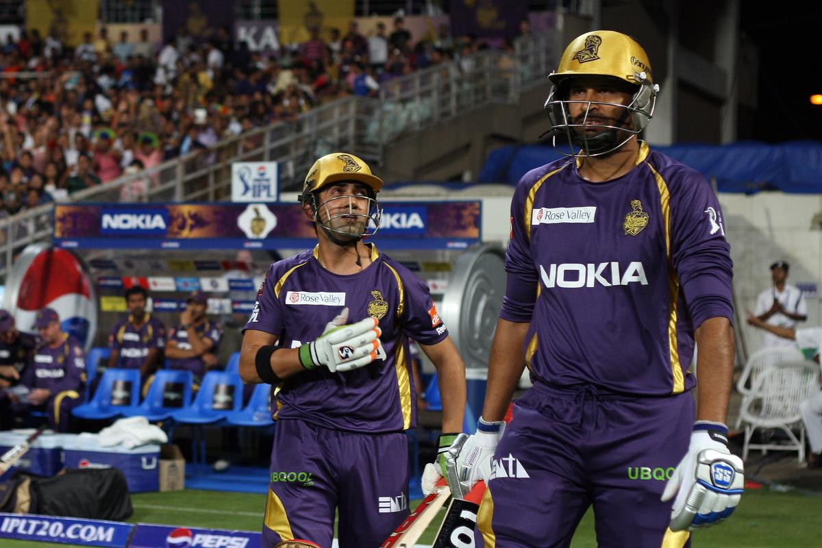 Opening batsmen Yusuf Pathan and Gautam Gambhir walking out onto the field during match 33 of the Pepsi Indian Premier League between The Kolkata Knight Riders and The Mumbai Indians held at Eden Gardens Stadium, Kolkata on the 24th April 2013. Photo by Jacques Rossouw-IPL-SPORTZPICS   ..Use of this image is subject to the terms and conditions as outlined by the BCCI. These terms can be found by following this link:..https://ec.yimg.com/ec?url=http%3a%2f%2fwww.sportzpics.co.za%2fimage%2fI0000SoRagM2cIEc&t=1493424532&sig=vkELaTMU5Xm6c3rveOeMpQ--~C