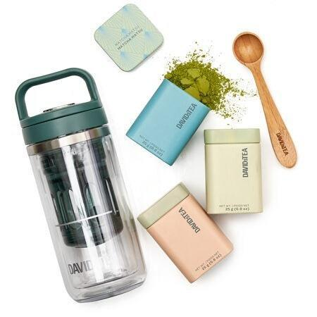 """Shake things up with David's Tea <a href=""""https://cna.st/affiliate-link/Lkx5GxxgQrBS7Y5xv9LPC9VFAPd1q9LDcKtaFPHZKKxAkBxNVVvv1U49FGPhEhVk5DHq3a6oq9tVafFsHbN2t4W58VPMRVMKxyd5YZjKzK2NvVruf7D9zmP4uUaM2wcKHHK1Li2M93jchCE5VD?cid=60b686b2f65ce27331d8737f"""" rel=""""nofollow noopener"""" target=""""_blank"""" data-ylk=""""slk:Matcha On-the-go set"""" class=""""link rapid-noclick-resp"""">Matcha On-the-go set</a>. The compact, portable kit includes three green tea powders, a bamboo matcha spoon, and an eight-ounce mini matcha maker. All you need to do is scoop and shake. The set has a Matcha Matsu flavor, a sweeter Peach Matcha, and the fan favorite Vanilla Matcha to choose from. $45, DAVIDs Tea. <a href=""""https://www.davidstea.com/us_en/tea/matcha-on-the-go/961377US01VAR0065275.html"""" rel=""""nofollow noopener"""" target=""""_blank"""" data-ylk=""""slk:Get it now!"""" class=""""link rapid-noclick-resp"""">Get it now!</a>"""