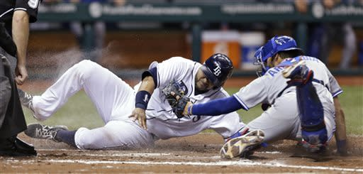 Tampa Bay Rays' Jose Molina slides around the tag by Toronto Blue Jays catcher J.P. Arencibia, right, to score on a fourth-inning sacrifice fly by Sean Rodriguez off Jays pitcher Mark Buehrle during a baseball game Tuesday, June 25, 2013, in St. Petersburg, Fla. (AP Photo/Chris O'Meara)