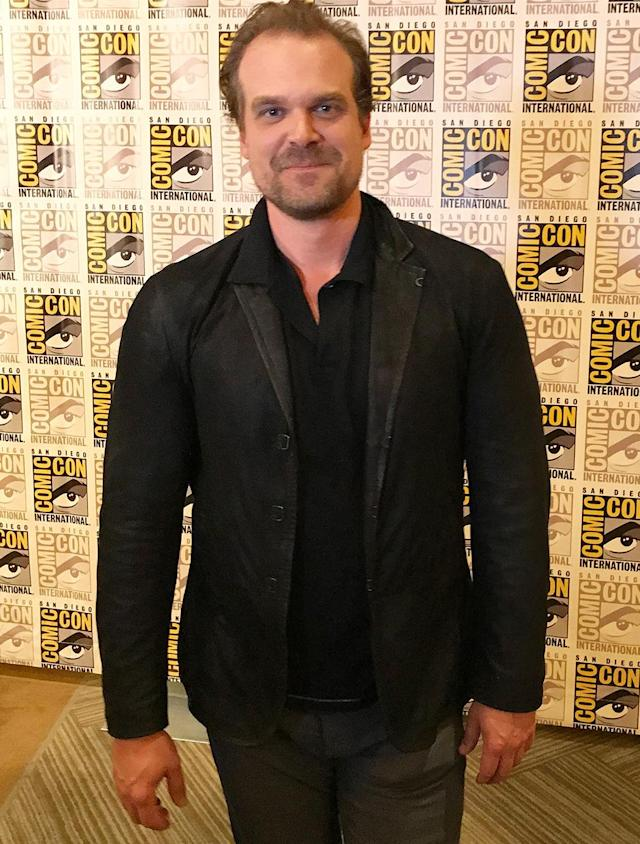 <p>Hopper (David Harbour) cleans up nice!<br><br>(Photo: Giana Mucci/Yahoo) </p>