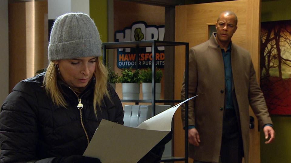 FROM ITV  STRICT EMBARGO  Print media - No Use Before Tuesday 23rd February 2021 Online Media - No Use Before 0700hrs  Tuesday 23rd February 2021  Emmerdale - Ep 8985  Thursday 4th March 2021 - 1st ep  Charity Dingle [EMMA ATKINS] breaks into the HOP office in an attempt to steal a client's contact to get back into ChasÕ goodbooks. Al Grant [MICHAEL WILDMAN] catches Charity red-handed and tempting to distract him, she throws the trophy from his business award in the air and runs for it. As Al leaps to catch his trophy, he falls, banging his head, and drops to the floor. Charity stares at him, unsure what to do...  Picture contact David.crook@itv.com   This photograph is (C) ITV Plc and can only be reproduced for editorial purposes directly in connection with the programme or event mentioned above, or ITV plc. Once made available by ITV plc Picture Desk, this photograph can be reproduced once only up until the transmission [TX] date and no reproduction fee will be charged. Any subsequent usage may incur a fee. This photograph must not be manipulated [excluding basic cropping] in a manner which alters the visual appearance of the person photographed deemed detrimental or inappropriate by ITV plc Picture Desk. This photograph must not be syndicated to any other company, publication or website, or permanently archived, without the express written permission of ITV Picture Desk. Full Terms and conditions are available on  www.itv.com/presscentre/itvpictures/terms