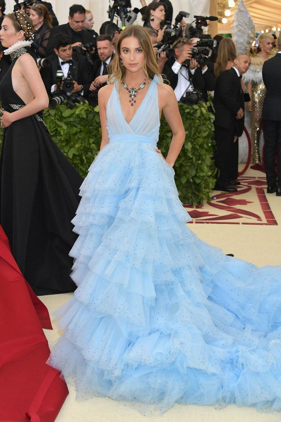 <p>Talita von Furstenberg—granddaughter of Diane von Furstenberg and a real-life princess—wore a gown designed by her grandmother in the perfect shade of Cinderella blue to the 2018 Met Gala in New York.</p>