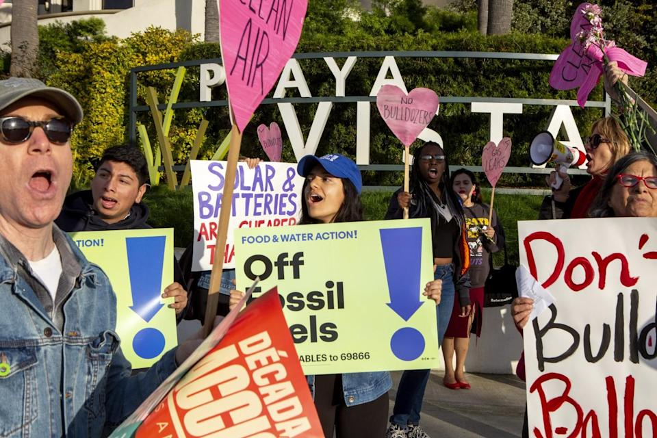 Protesters call for the closure of Southern California Gas Co.'s Playa del Rey storage field on Feb. 14, 2020.
