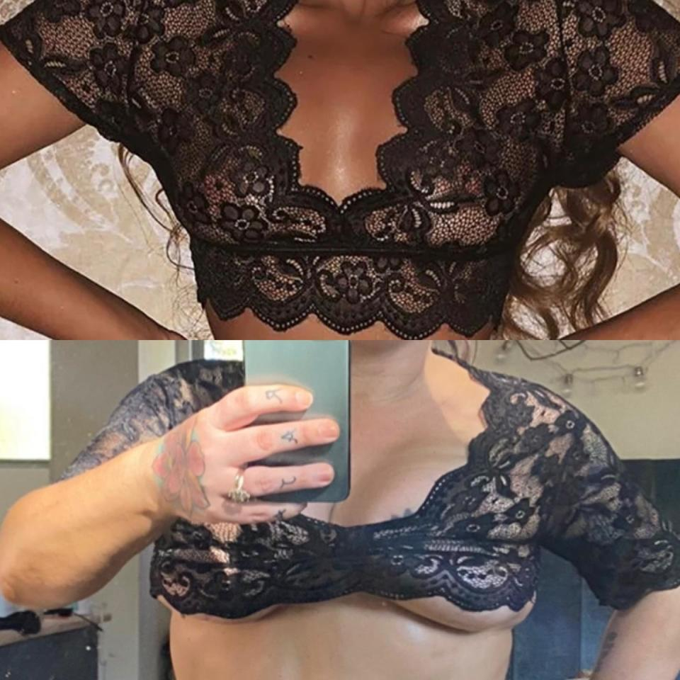 Australian blogger and designer Constance Hall tries on a tiny black lace crop top