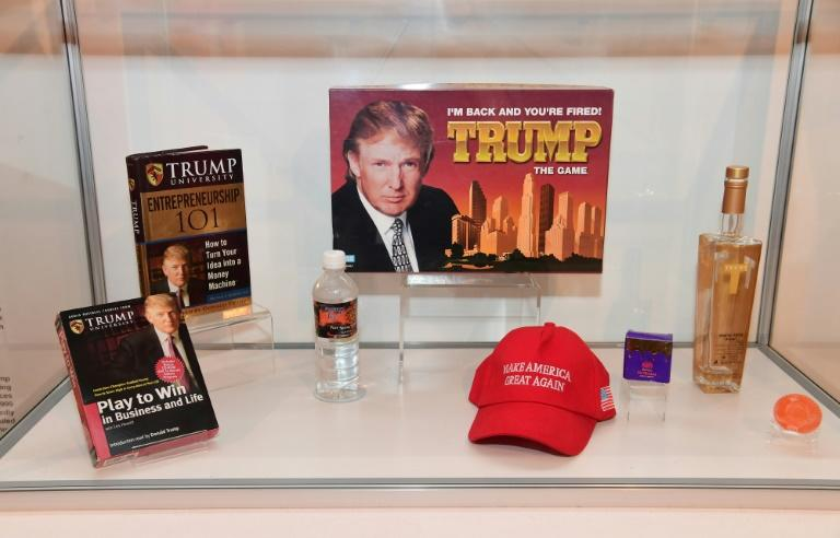 Donald Trump games, books, water, alcohol and other items are displayed at The Museum of Failure in Los Angeles