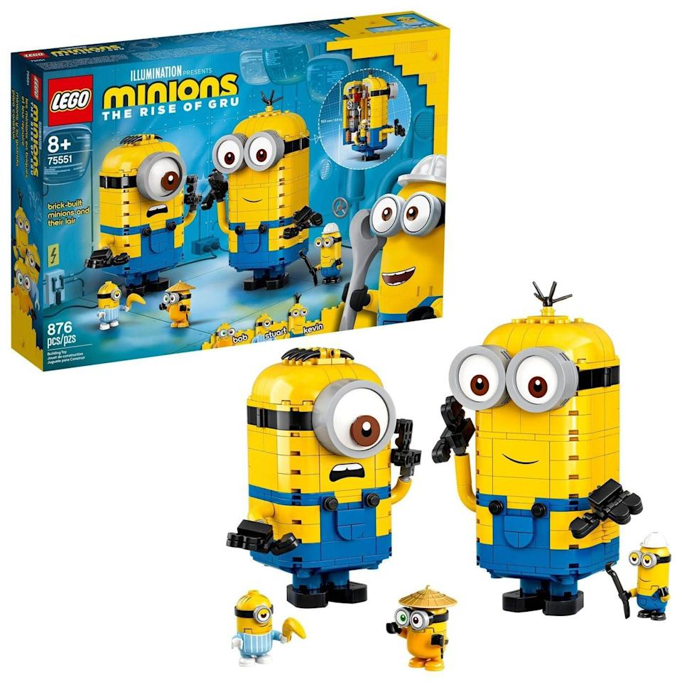 "<p>This <a href=""https://www.popsugar.com/buy/Lego-Minions-Brick-Built-Minions-Lair-Set-572082?p_name=Lego%20Minions%20Brick-Built%20Minions%20and%20Their%20Lair%20Set&retailer=target.com&pid=572082&price=50&evar1=moms%3Aus&evar9=47243673&evar98=https%3A%2F%2Fwww.popsugar.com%2Fphoto-gallery%2F47243673%2Fimage%2F47243772%2FLego-Minions-Brick-Built-Minions-Their-Lair&list1=toys%2Ctoy%20fair%2Ckid%20shopping%2Ckids%20toys&prop13=api&pdata=1"" class=""link rapid-noclick-resp"" rel=""nofollow noopener"" target=""_blank"" data-ylk=""slk:Lego Minions Brick-Built Minions and Their Lair Set"">Lego Minions Brick-Built Minions and Their Lair Set</a> ($50) has 876 pieces and is aimed at kids ages 8 and up.</p>"