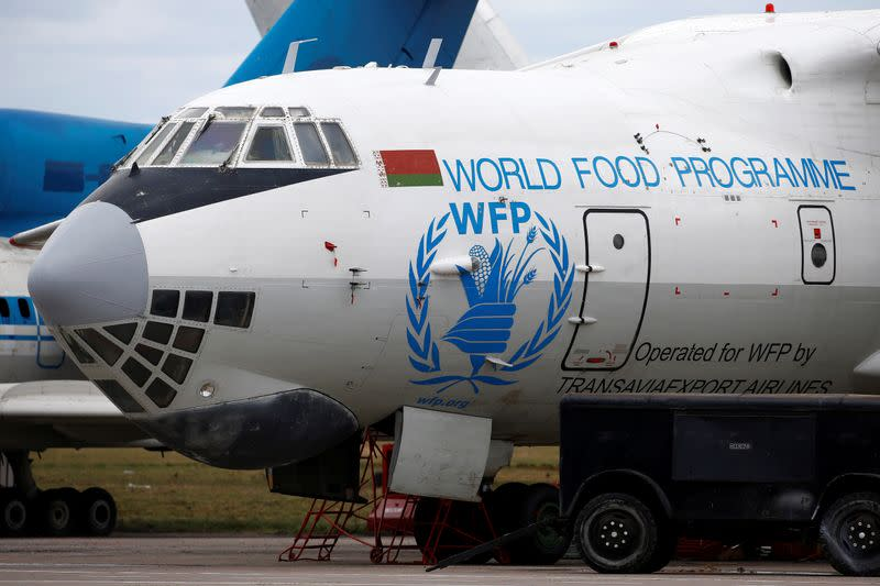 FILE PHOTO: Logo of the World Food Programme humanitarian organization is seen on a plane at the National Airport Minsk