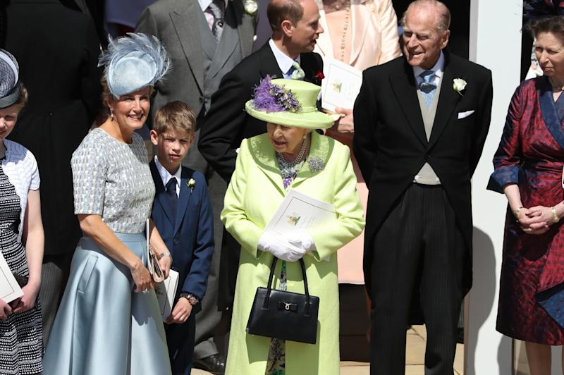 WINDSOR, ENGLAND - MAY 19: Sophie, Countess of Wessex, James, Viscount Severn, Queen Elizabeth II, Prince Edward, Earl of Wessex, Prince Philip, Duke of Edinburgh and Princess Anne, Princess Royal Prince Philip, Duke of Edinburgh after the wedding of Prince Harry and Meghan Markle at St George's Chapel in Windsor Castle on May 19, 2018 in Windsor, England. (Photo by Andrew Milligan - WPA/Getty Images)