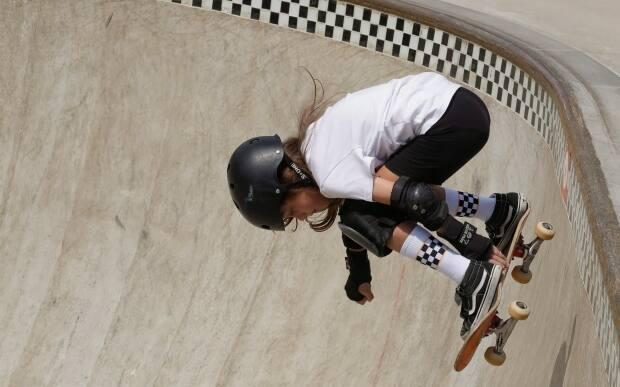 11-year-old Fay Ebert, the youngest member of Canada's national skateboard team, could turn her attention to the 2024 Summer Games in Paris due to a shortage of qualifiers and funding ahead of Tokyo. (Andre Penner/The Associated Press - image credit)