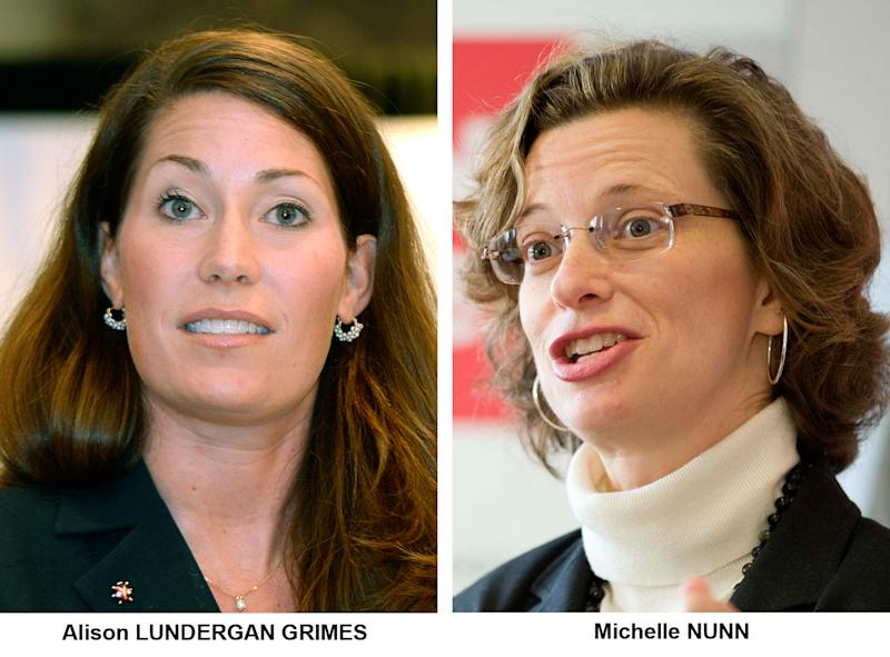 FILE - These file photos show Democrat Senate candidates Michelle Nunn in Georgia, and Kentucky's Alison Lundergan Grimes, who wants to beat Senate Minority Leader Mitch McConnell, if he wins a contested primary. Both Lundergan Grimes and Nunn decry the impasse with Republicans over the federal budget and the nation's borrowing limit, but they don't talk about the fiscal fight and the health care law together. In five Southern states, Louisiana, Arkansas, North Carolina, Georgia and Kentucky, President Barack Obama and his health care law are generally unpopular among white, conservative voters who dominate elections in non-presidential years, but popular among African-American voters who are necessary for any statewide victory for a Democrat in the South. (AP Photos/Files)