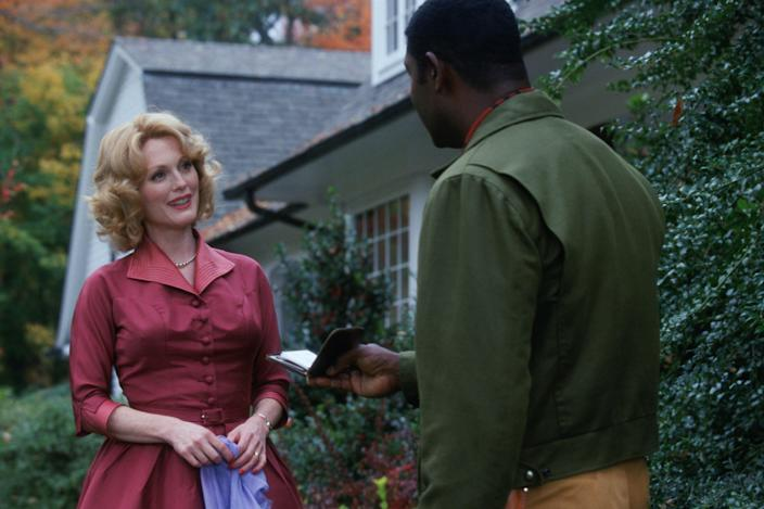 """<h1 class=""""title"""">Far from Heaven Year : 2002 USA Director: Todd Haynes Dennis Haysbert, Julianne Moore. Image shot 2002. Exact date unknown.</h1> <div class=""""caption""""> Julianne Moore (left) and Dennis Haysbert in <em>Far From Heaven.</em> The film—Moore and director Todd Haynes's second appearance on this list—was nominated for four Academy Awards. </div> <cite class=""""credit"""">Photo 12 / Alamy Stock Photo</cite>"""