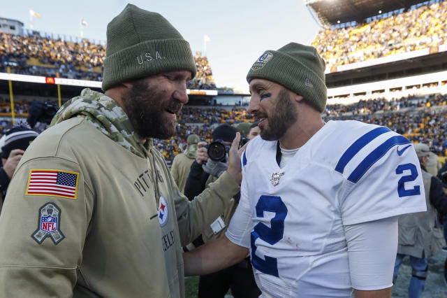 Indianapolis Colts quarterback Brian Hoyer (2) greets injured Pittsburgh Steelers quarterback Ben Roethlisberger after an NFL football game, Sunday, Nov. 3, 2019, in Pittsburgh. The Steelers won 26-24. (AP Photo/Don Wright)