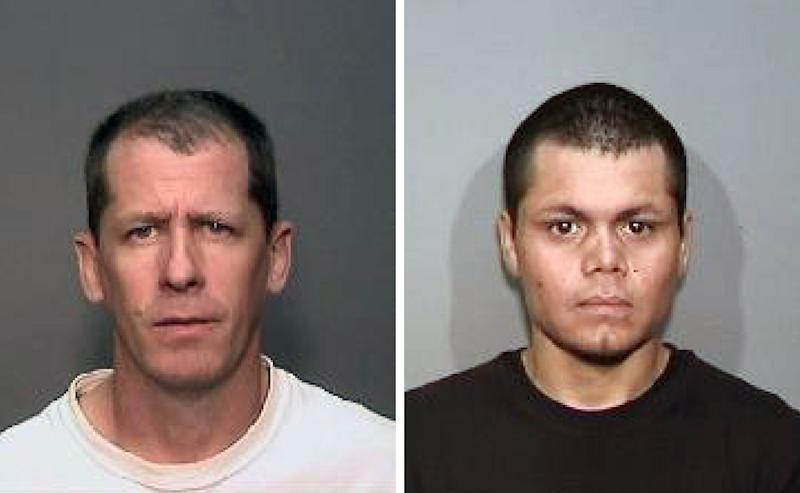 This combination of undated photos from the Megan's Law website shows suspects, Stephen Dean Gordon, 45, left, and Franc Cano, 27, who were arrested on Friday, April 11, 2014, on suspicion of killing four women in Orange County, Calif. Anaheim police said detectives in Santa Ana and Anaheim launched a joint investigation after the naked body of Jarrae Nykkole Estepp, 21, was found in the conveyor belt of a recycling plant last month. The probe led detectives to connect the men to her slaying, and the disappearance of three women who frequented a Santa Ana neighborhood known for drug dealing and prostitution. (AP Photo/Megan's Law)