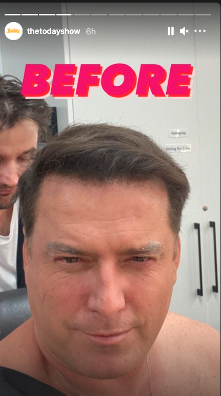 Karl Stefanovic in the makeup chair