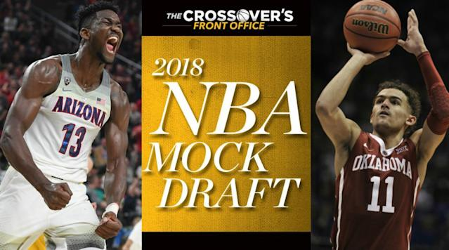 <p>With March Madness underway, Front Offices are canvassing the country and setting their eyes on the draft as the NBA season draws to a close. Although the tournament is a small, unique sample size, it's always a sort of proving ground for talent—and post-season play is often the first time a lot of high-level execs lay eyes on certain players. Although the concept of 'draft stock' is mostly a function of who's playing well and what rumors are swirling, every year there are players who leave a strong impression in the NCAA tourney and end up earning a better draft slot because of it. We know who the elite players are, but this is far from a finished picture.</p><p>Some key dates to remember from here, as the season wraps up and players begin to make their pro intentions known: underclassmen have until April 22 to declare for the draft, with the lottery set for May 15 and the combine from May 16–20. College players will then have until May 30 to withdraw. The draft itself is June 21—which is exactly 99 days from now. The actual first-round picture is more confusing than usual, as there's still a ton of uncertainty in the standings. A pair of good Western Conference teams are going to miss the playoffs, and bad teams continue to reverse jockey toward favorable lottery odds. The end of the season promises to be chaotic and consequential, even when the basketball gets bad.</p><p>As always, the mock draft serves to project what the big picture looks fine within the confines of a given day's scenario, whereas our Big Board serves as the Front Office's own assessment of talent. Below, you'll find all 30 picks allotted in current reverse standings order, with tiebreakers done at random.</p><h3>1. Grizzlies: Deandre Ayton, C, Arizona | Fr.</h3><p><strong>Height</strong>: 7'0"