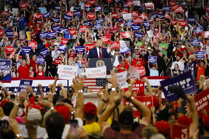 ORLANDO, USA - JUNE 18: US President Donald Trump (C) speaks during a rally at the Amway Center in Orlando, Florida on June 18, 2019. President Donald Trump officially launches his 2020 campaign. (Photo by Eva Marie Uzcategui T./Anadolu Agency/Getty Images)