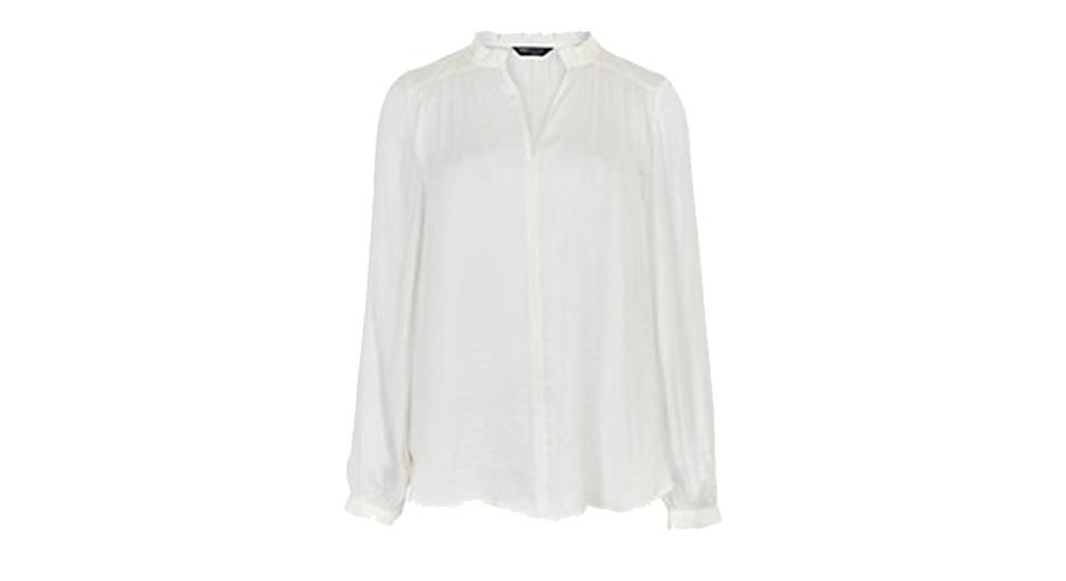 Washed Satin Frill Neck Popover Blouse