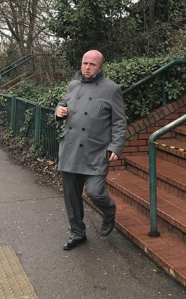 Steven Green, 39, leaving Wimbledon Magistrates' Court after pleading guilty to a single count of racially aggravated harassment