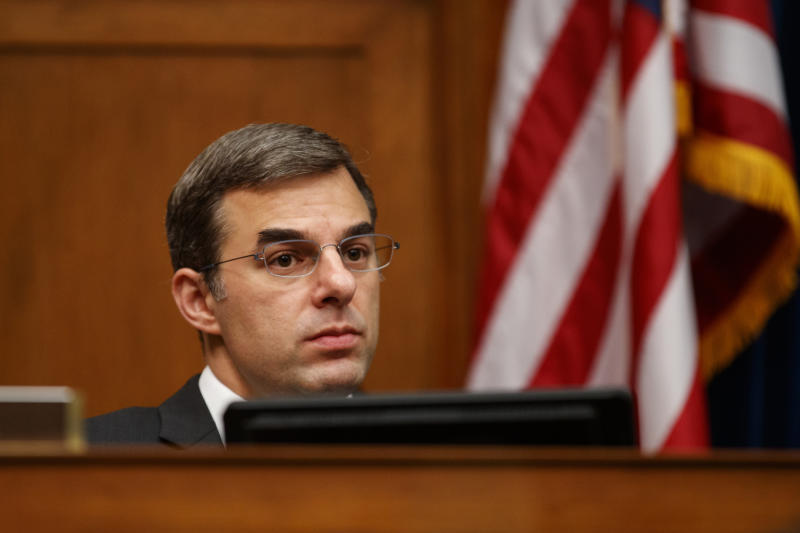 """House Oversight and Reform National Security subcommittee member Rep. Justin Amash, R-Mich., looks out from the dais on Capitol Hill in Washington, Wednesday, May 22, 2019, during the House Oversight and Reform National Security subcommittee hearing on """"Securing U.S. Election Infrastructure and Protecting Political Discourse."""" (AP Photo/Carolyn Kaster)"""