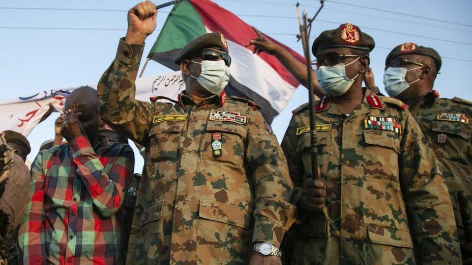 Sudanese Army's deputy chief of staff, Lieutenant General Khaled Abdin al-Shami (2nd L), is seen ahead of his speech to the press as Sudanese army has retaken control of an area in the al-Fashqa border region with Ethiopia on December 29, 2020, in eastern Al -Qadarif State, Sudan.