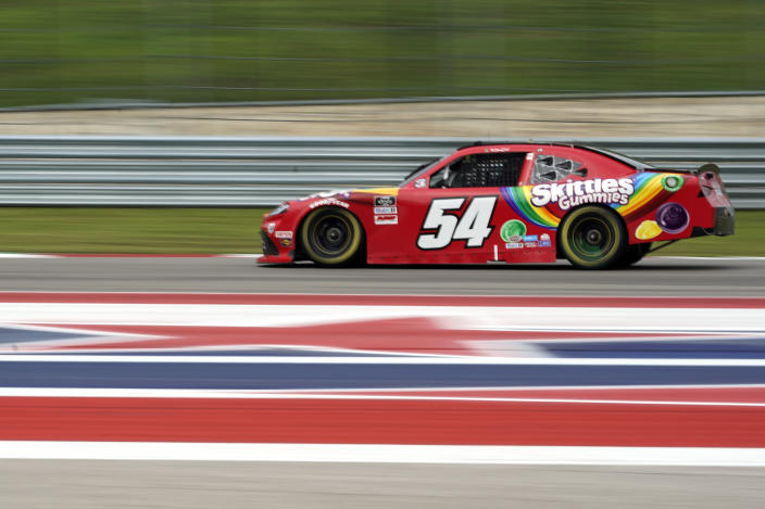 Kyle Busch (54) drives toward Turn 19 during the NASCAR Xfinity Series auto race at the Circuit of the Americas in Austin, Texas, Saturday, May 22, 2021. (AP Photo/Chuck Burton)