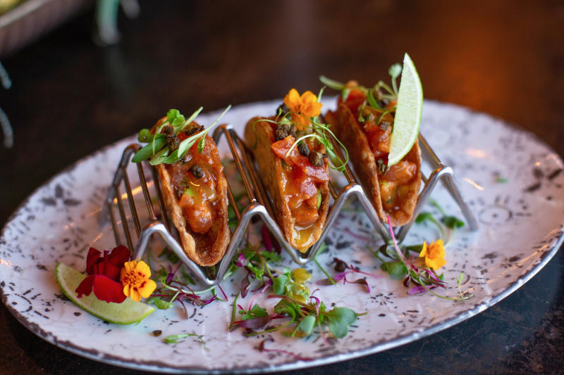 Ahi Tuna Tartare in Plantain Tacos