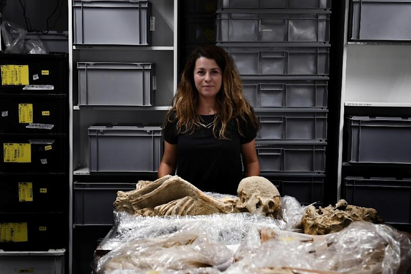 Eleanna Prevedorou is a bioarchaeological researcher on the Athens project, which will see high-tech methods deployed akin to those seen on TV shows such as 'CSI' to examine the skeletons (AFP Photo/Aris MESSINIS)