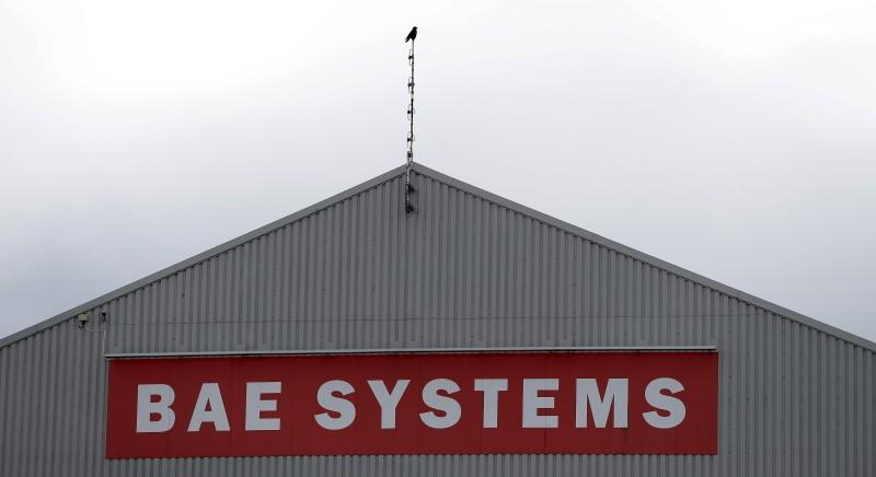 A sign adorns a hangar at the BAE Systems facility at Salmesbury