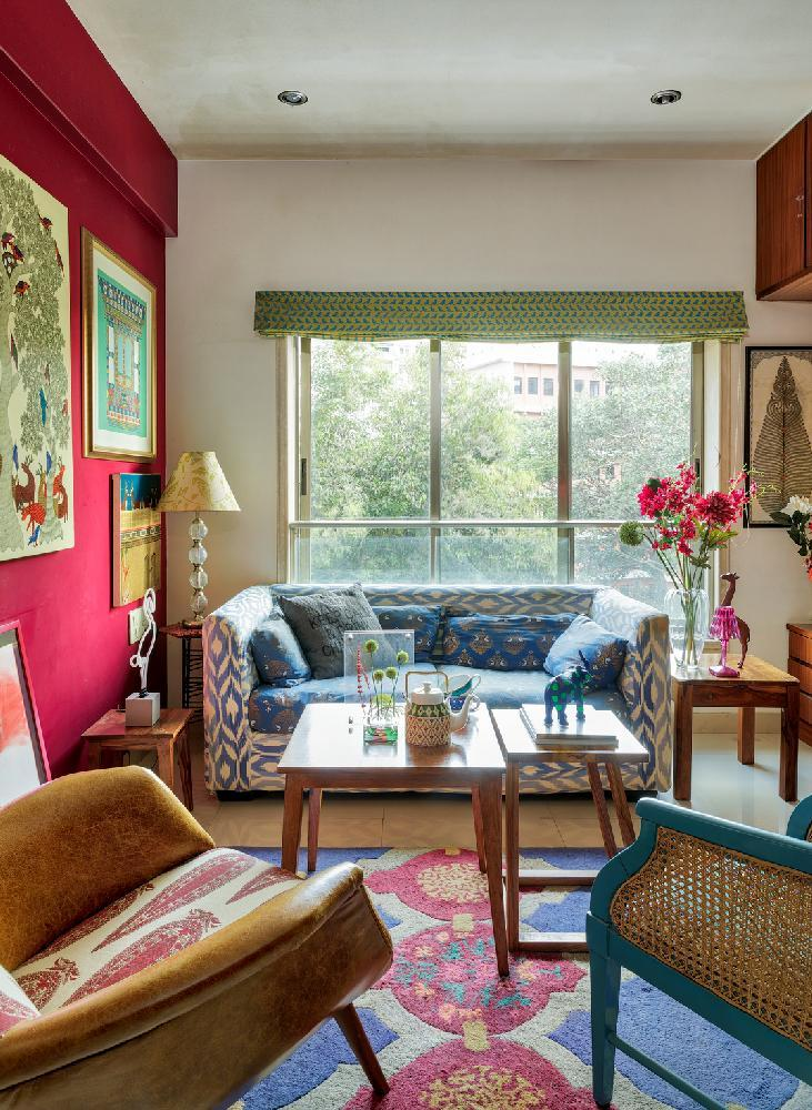 "The entertainment den (an erstwhile bedroom) is an example of how myriad patterns can coexist within a dominant colourway. ""Use a patterned rug or a mirror wall to make the room look spacious,"" advises Mehta."