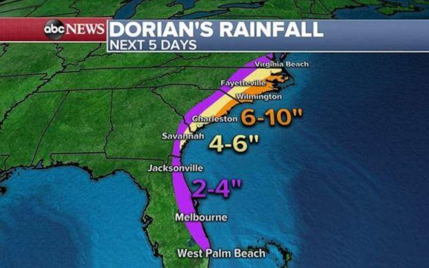PHOTO: No matter where Hurricane Dorian makes landfall, heavy rain is expected across the entire Southeastern seaboard. (ABC News)