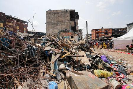 Rubble is pictured at the site of a collapsed building in Nigeria's commercial capital of Lagos, Nigeria March 15, 2019. REUTERS/Afolabi Sotunde