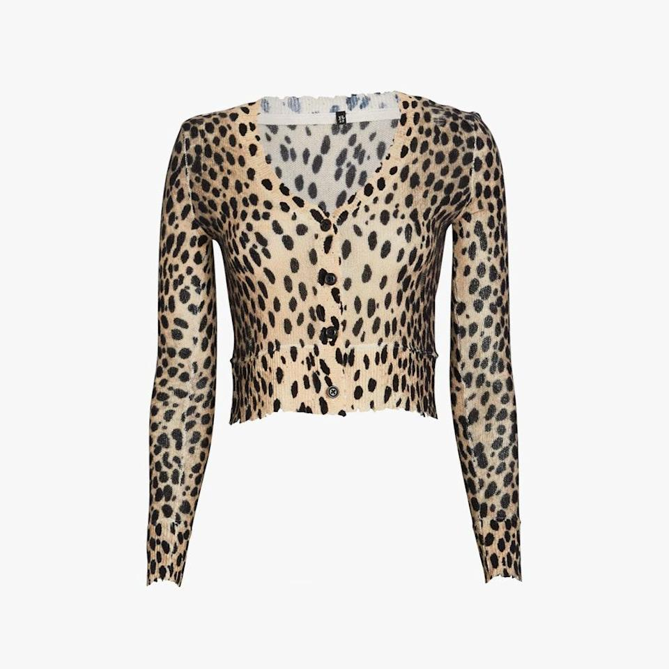 """Animal prints are a classic option you can wear any time of the year. $450, INTERMIX. <a href=""""https://www.intermixonline.com/r13/cropped-cashmere-cheetah-cardigan/R13W3564-10.html"""" rel=""""nofollow noopener"""" target=""""_blank"""" data-ylk=""""slk:Get it now!"""" class=""""link rapid-noclick-resp"""">Get it now!</a>"""