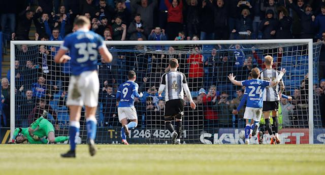 "Soccer Football - League Two - Chesterfield vs Notts County - Proact Stadium, Chesterfield, Britain - March 25, 2018 Chesterfield's Kristian Dennis scores his sides third goal from a penalty Action Images/Craig Brough EDITORIAL USE ONLY. No use with unauthorized audio, video, data, fixture lists, club/league logos or ""live"" services. Online in-match use limited to 75 images, no video emulation. No use in betting, games or single club/league/player publications. Please contact your account representative for further details."