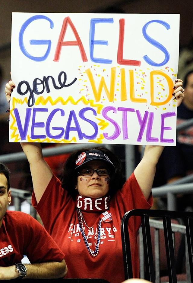 Saint Mary's Gaels fan Debbie Henry holds up a sign as the team takes on the San Francisco Dons during a semifinal game of the Zappos.com West Coast Conference Basketball tournament at the Orleans Arena March 3, 2012 in Las Vegas, Nevada. Saint Mary's won 83-78. (Photo by Ethan Miller/Getty Images)