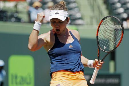 Mar 29, 2017; Miami, FL, USA; Simona Halep of Romania reacts after winning a point against Johanna Konta of Great Britain (not pictured) on day nine of the 2017 Miami Open at Crandon Park Tennis Center. Geoff Burke-USA TODAY Sports