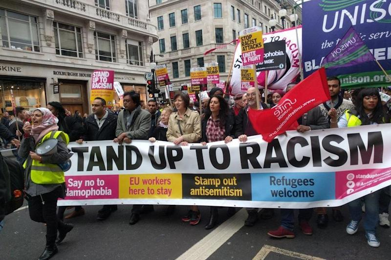 March: The protest was organised by Stand Up To Racism (Stand Up To Racism)