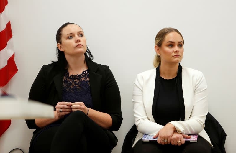 Lindsey Hass and Kat Wehunt, both human trafficking survivors, look on during a training session at the Berkeley County Emergency Services Training Center in Moncks Corner