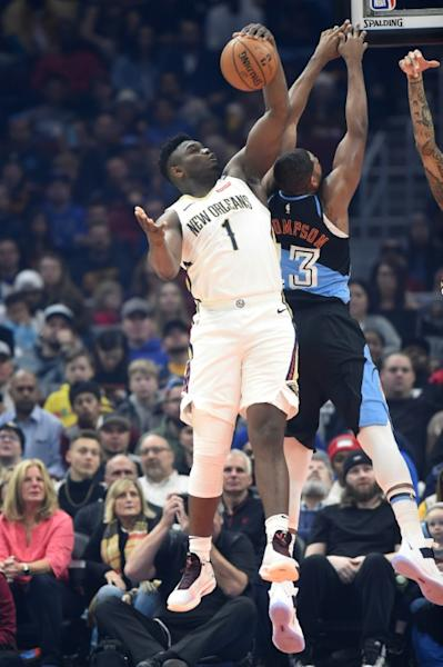New Orleans rookie star Zion Williamson, left, was named on Friday to the US roster for the NBA Rising Stars game as an injury replacement for Chicago's Wendell Carter Jr. (AFP Photo/Jason Miller)