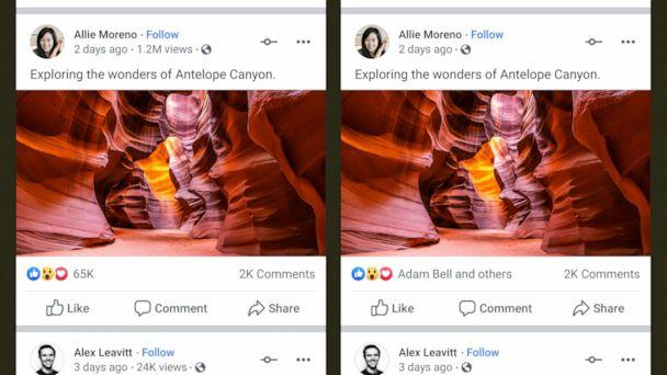 PHOTO: Facebook is testing removing public visibility to like, reaction, and video view counts from organic posts (friends, family, pages, etc.) and ads. At left is a post showing 'likes' and right, is the same post with the data hidden. (Facebook)